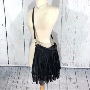 H&M Black Faux Leather Fringe Shoulder Bag Purse